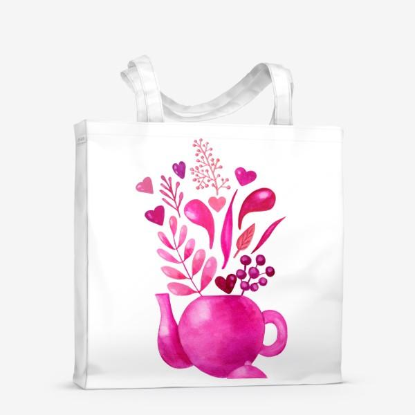 Сумка-шоппер «Розовый чайник с розовыми растениями и надписью любовь - love»