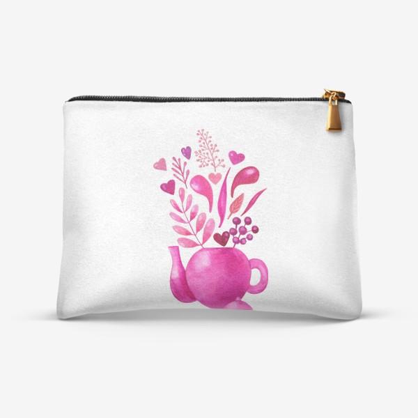 Косметичка «Розовый чайник с розовыми растениями и надписью любовь - love»