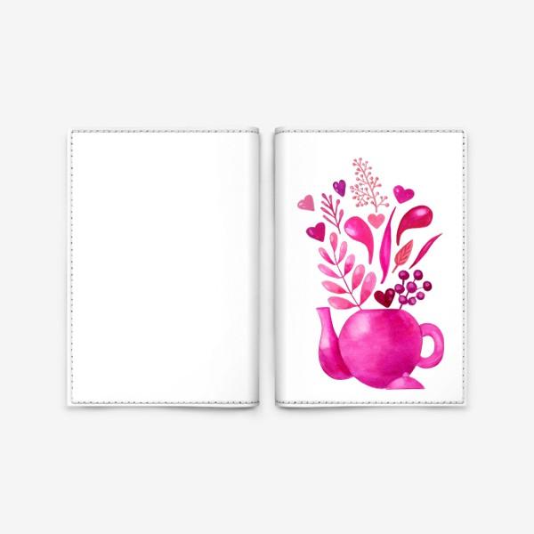 Обложка для паспорта «Розовый чайник с розовыми растениями и надписью любовь - love»
