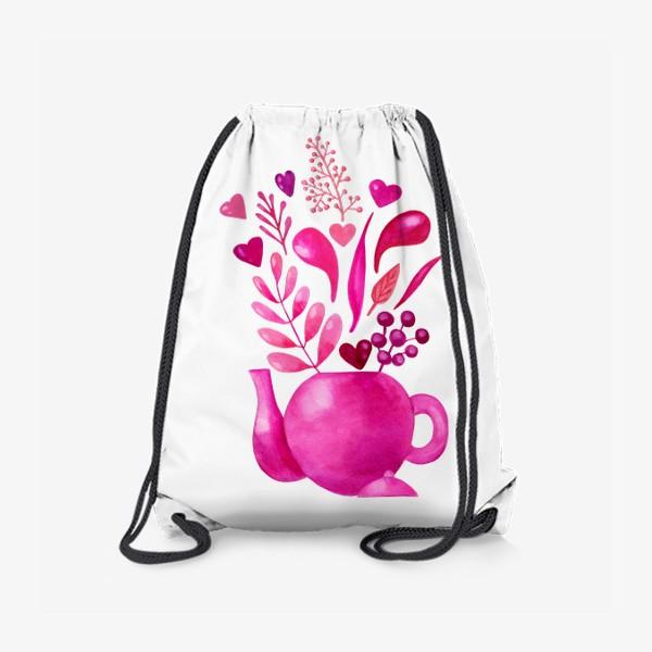 Рюкзак «Розовый чайник с розовыми растениями и надписью любовь - love»