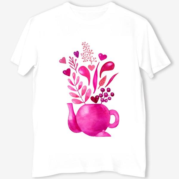 Футболка «Розовый чайник с розовыми растениями и надписью любовь - love»
