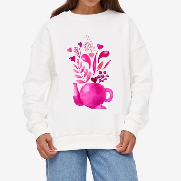 Свитшот «Розовый чайник с розовыми растениями и надписью любовь - love»