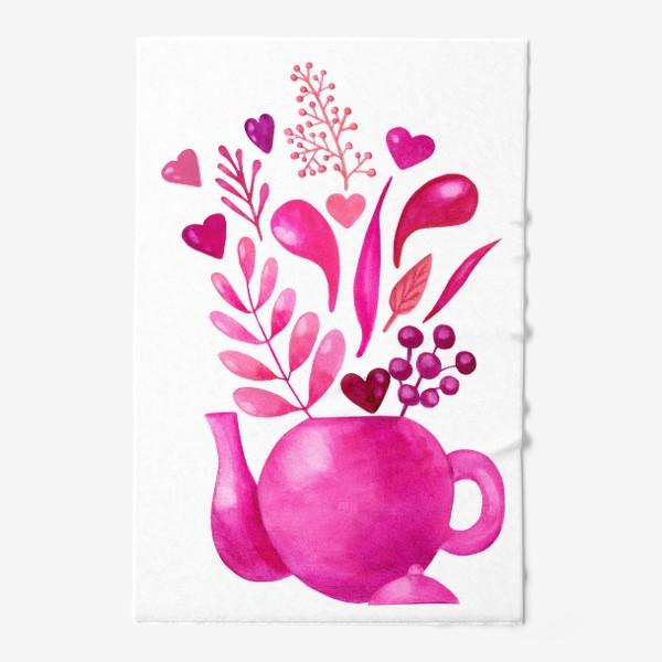 Полотенце «Розовый чайник с розовыми растениями и надписью любовь - love»
