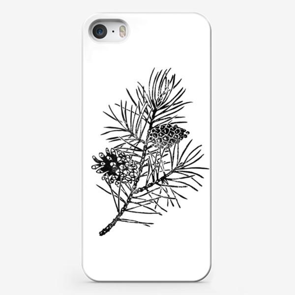 Чехол iPhone «Сосна в технике линогравюра-2»