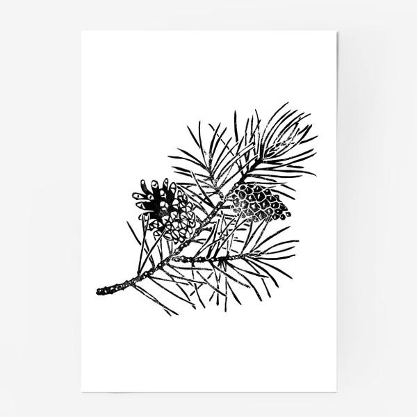 Постер «Сосна в технике линогравюра-2»