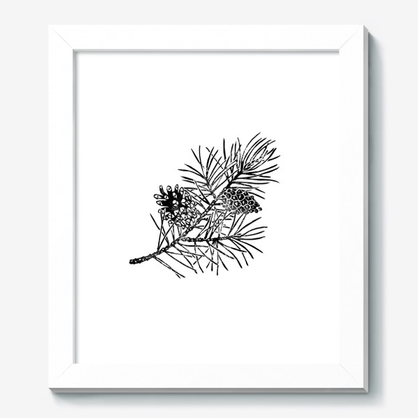 Картина «Сосна в технике линогравюра-2»