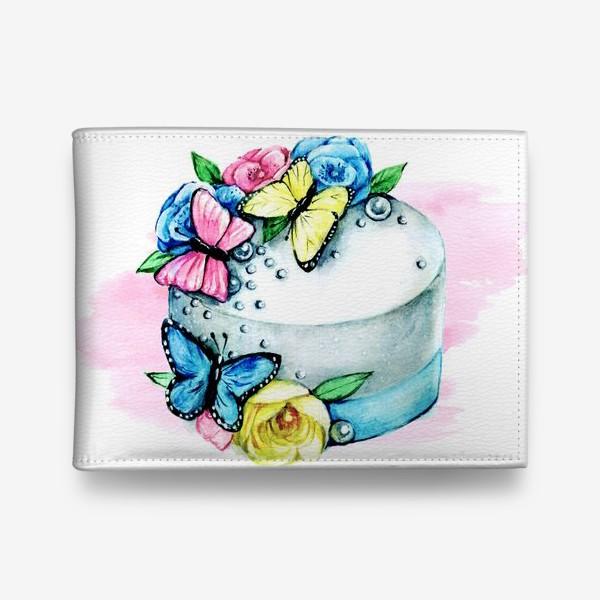 Кошелек «Десерты. Торт с бабочками»