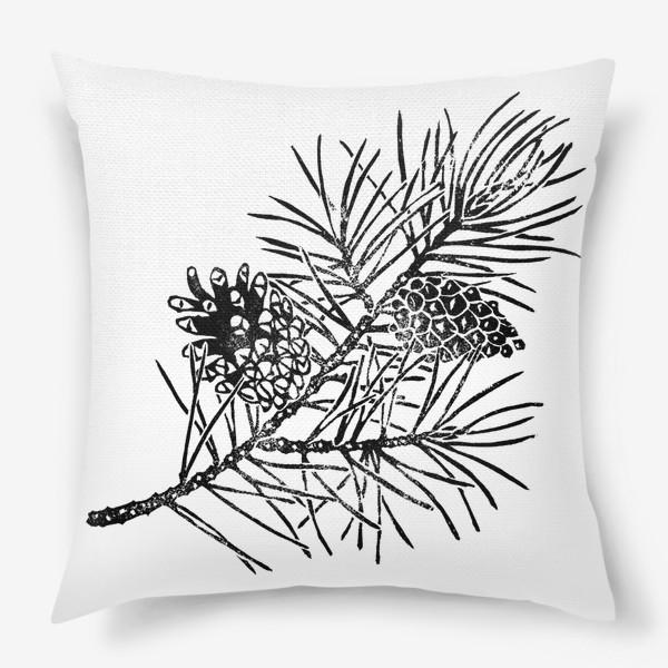 Подушка «Сосна в технике линогравюра-2»