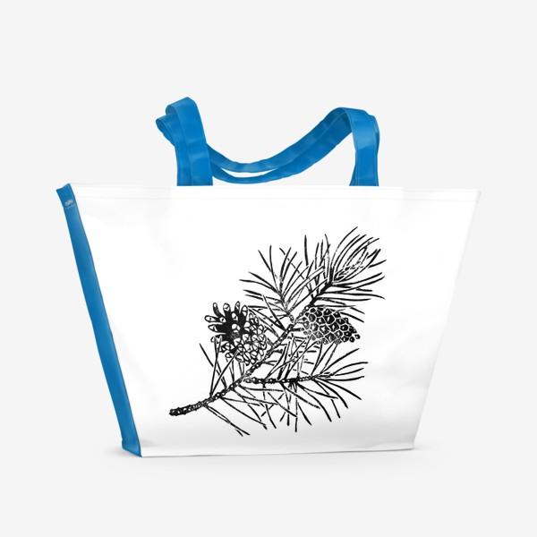 Пляжная сумка «Сосна в технике линогравюра-2»