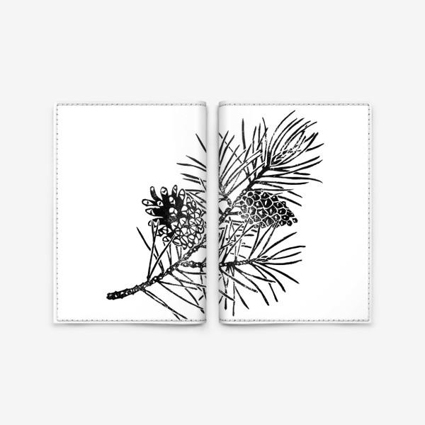 Обложка для паспорта «Сосна в технике линогравюра-2»