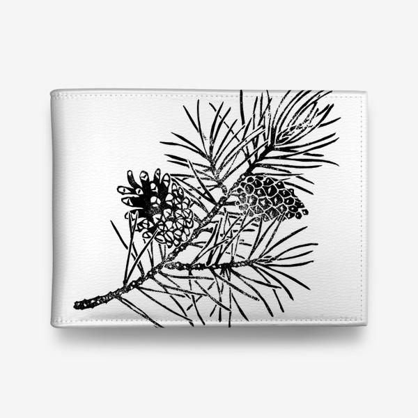 Кошелек «Сосна в технике линогравюра-2»