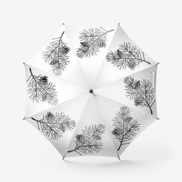Зонт «Сосна в технике линогравюра-2»