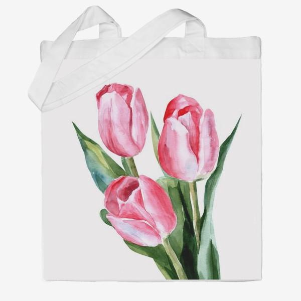 Сумка хб «Розовые тюльпаны»