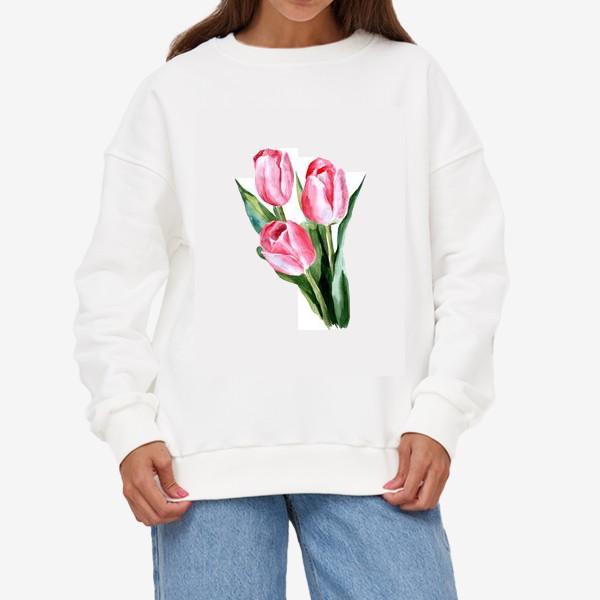 Свитшот «Розовые тюльпаны»