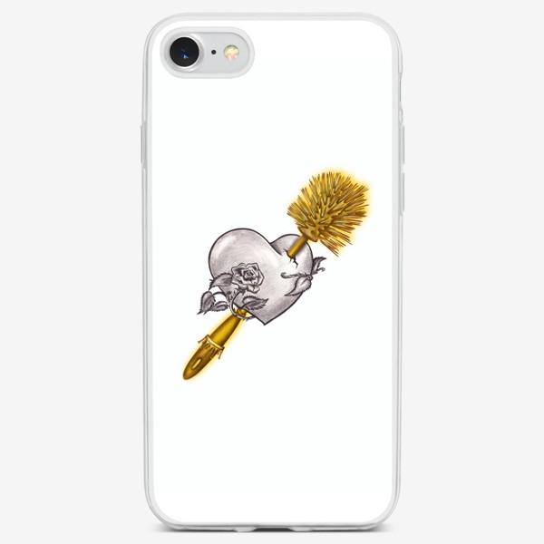 Чехол iPhone « В самое сердце! Пронзённое ёршиком. Актуальное. »