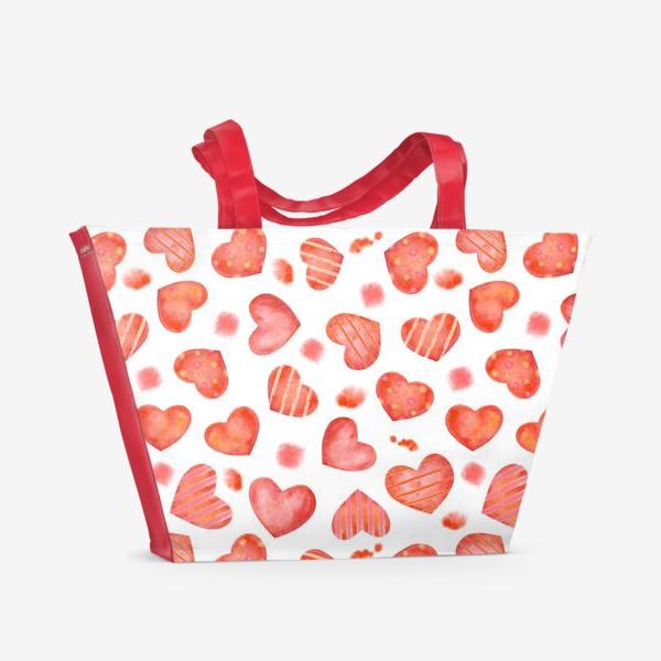 Пляжная сумка «Сердце. паттерн, акварель»