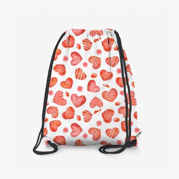 Рюкзак «Сердце. паттерн, акварель»