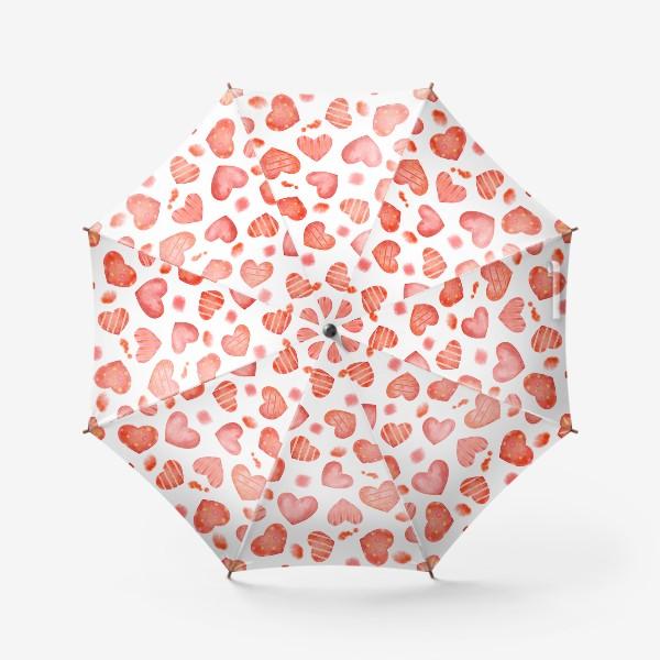 Зонт «Сердце. паттерн, акварель»