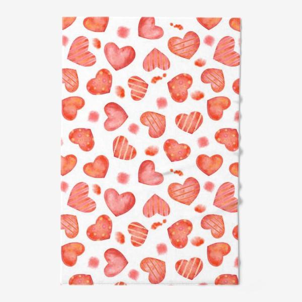Полотенце «Сердце. паттерн, акварель»