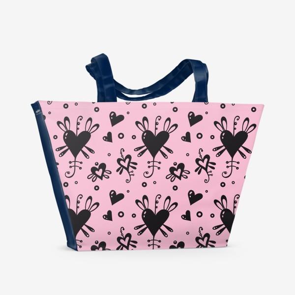 Пляжная сумка «Сердечки на розовом.»