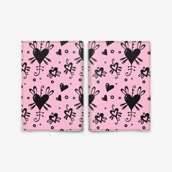 Обложка для паспорта «Сердечки на розовом.»