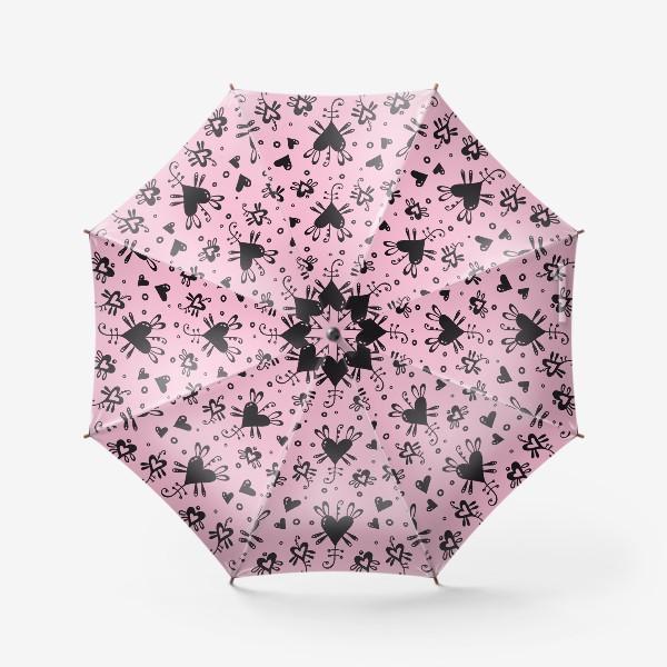 Зонт «Сердечки на розовом.»