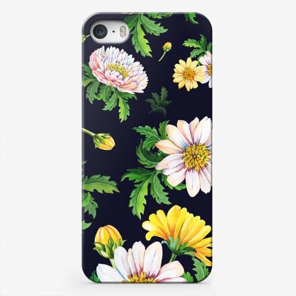 Чехол iPhone «Хризантемы на черном»