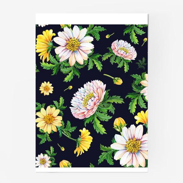 Постер «Хризантемы на черном»
