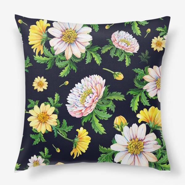 Подушка «Хризантемы на черном»
