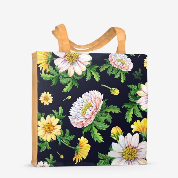 Сумка-шоппер «Хризантемы на черном»
