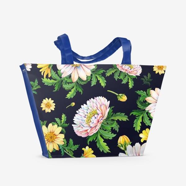 Пляжная сумка «Хризантемы на черном»
