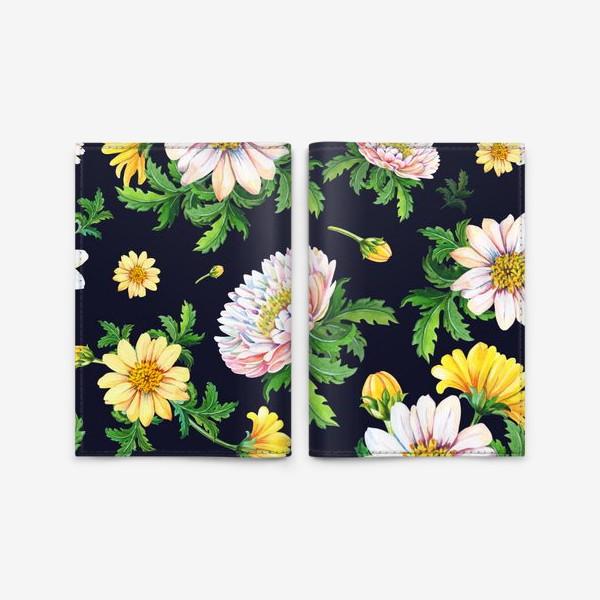 Обложка для паспорта «Хризантемы на черном»