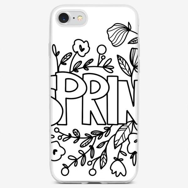 Чехол iPhone «Контур дудл милая надпись весна с букетом цветов и листья. Монохром»