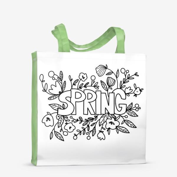 Сумка-шоппер «Контур дудл милая надпись весна с букетом цветов и листья. Монохром»