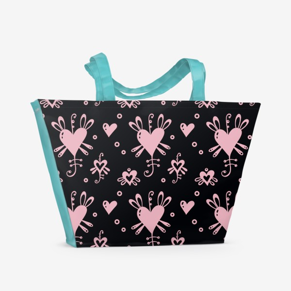 Пляжная сумка «Розовое на черном.»