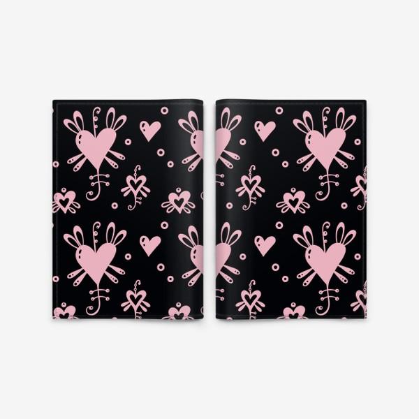 Обложка для паспорта «Розовое на черном.»