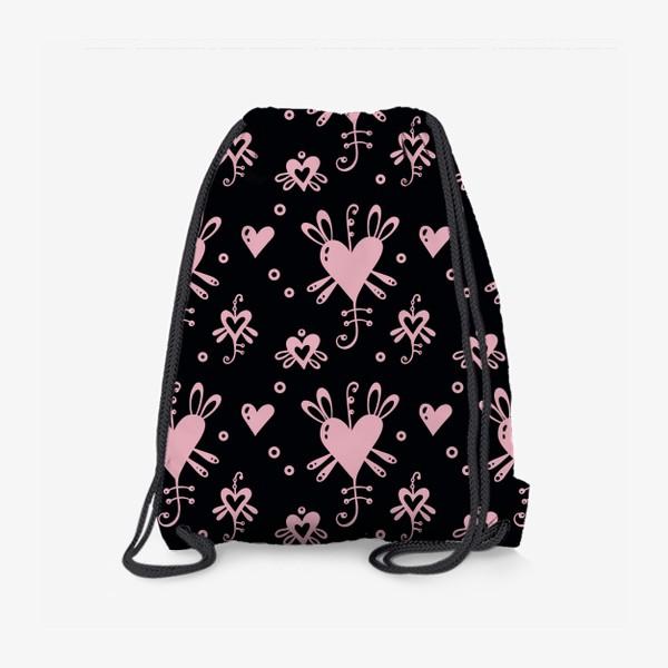 Рюкзак «Розовое на черном.»