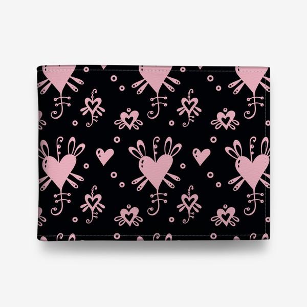 Кошелек «Розовое на черном.»
