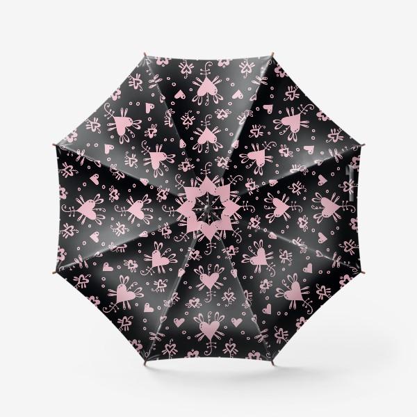 Зонт «Розовое на черном.»