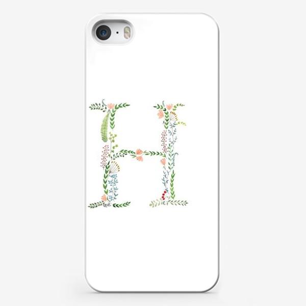 Чехол iPhone «Буква Н из листиков, веточек, ягод и цветов.»