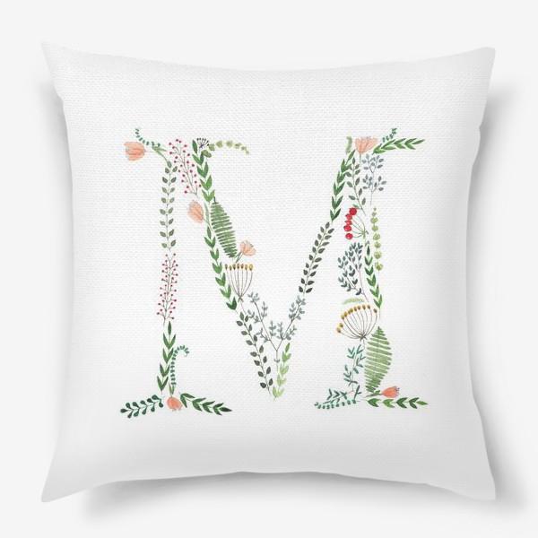 Подушка «Буква М из листиков, веточек, ягод и цветов.»
