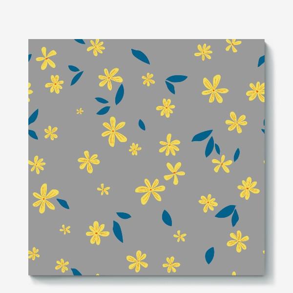 Холст «жёлтые цветы на сером»