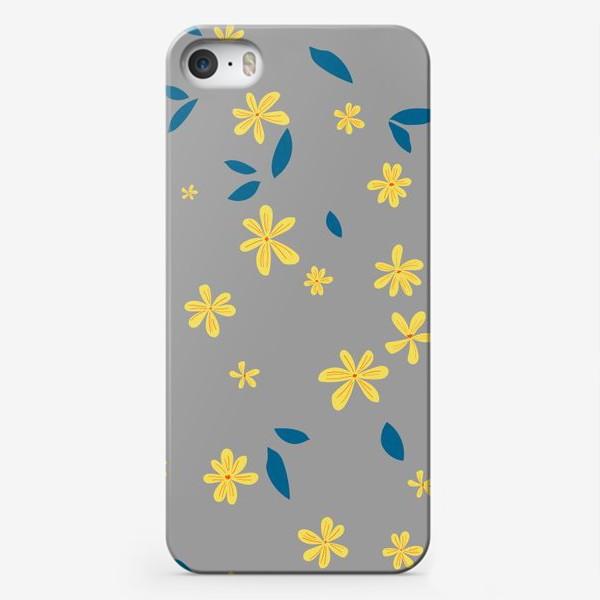 Чехол iPhone «жёлтые цветы на сером»