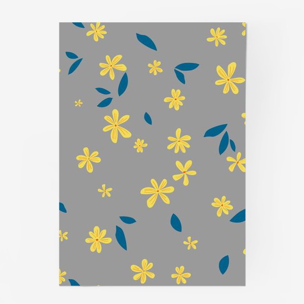 Постер «жёлтые цветы на сером»