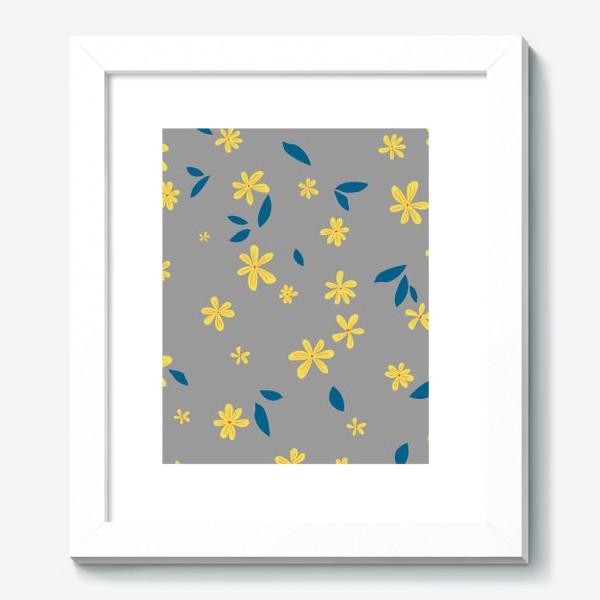 Картина «жёлтые цветы на сером»