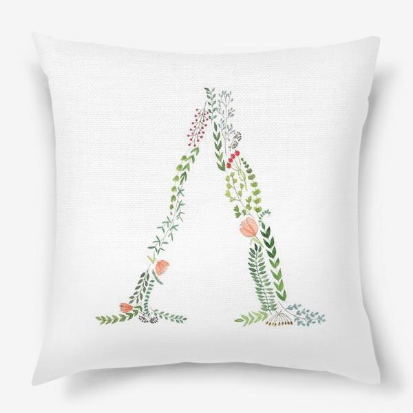 Подушка «Буква Л из листиков, веточек, ягод и цветов.»