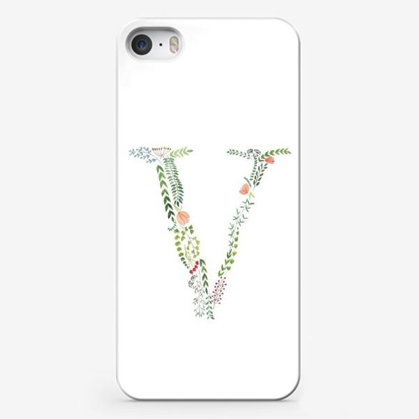 Чехол iPhone «Буква V из листиков, веточек, ягод и цветов.»