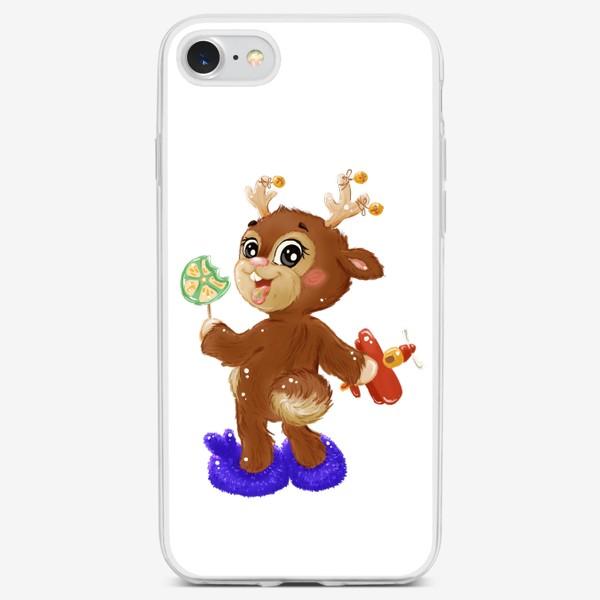Чехол iPhone «Оленёнок с карамелькой»
