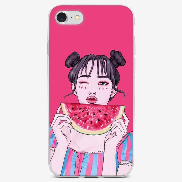 Чехол iPhone «Девушка с арбузом»