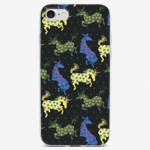 Чехол iPhone «Colorful horned horses»